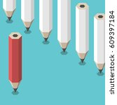 red unique pencil standing... | Shutterstock .eps vector #609397184