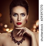 fashion model beauty makeup and ... | Shutterstock . vector #609397370