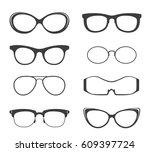 glasses vector black silhouette ... | Shutterstock .eps vector #609397724