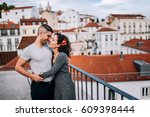 couple has fun and laughs. kiss.... | Shutterstock . vector #609398444