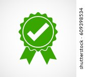 green approved icon in flat... | Shutterstock .eps vector #609398534