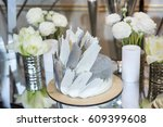 wedding cake in silver color... | Shutterstock . vector #609399608