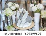 wedding cake in silver color... | Shutterstock . vector #609399608