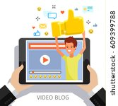 concept of video blogging ... | Shutterstock .eps vector #609399788
