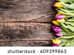 Spring Tulips Flower On Wooden...