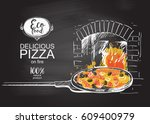 pizza on a shovel baked in the... | Shutterstock .eps vector #609400979