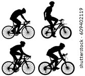 set silhouette of a cyclist... | Shutterstock . vector #609402119