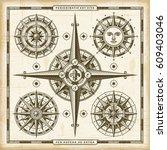Vintage Compass Roses Set....