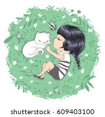 cute girl with cat vector... | Shutterstock .eps vector #609403100