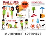 heat stroke warning... | Shutterstock .eps vector #609404819