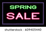 neon   spring sale   sign | Shutterstock . vector #609405440