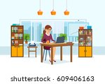young  beautiful girl   office... | Shutterstock .eps vector #609406163