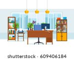 office interior of the room ... | Shutterstock .eps vector #609406184