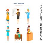 female professions. womens of... | Shutterstock .eps vector #609406718
