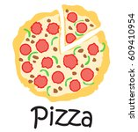 pizza sticker. vector... | Shutterstock .eps vector #609410954