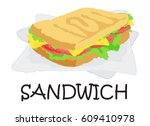 sandwich sticker. vector... | Shutterstock .eps vector #609410978