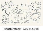 set of art calligraphy flourish ... | Shutterstock .eps vector #609416348