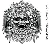 gothic coat of arms with skull... | Shutterstock .eps vector #609416774