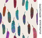 seamless pattern with colorful...   Shutterstock .eps vector #609416990