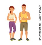 young man and woman in... | Shutterstock .eps vector #609419324