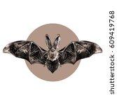 bat with open wings symmetrical ... | Shutterstock .eps vector #609419768