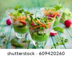 spring appetizer with raw... | Shutterstock . vector #609420260
