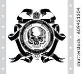 skull front view in center of... | Shutterstock .eps vector #609421304