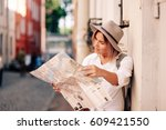 travel guide. young female... | Shutterstock . vector #609421550