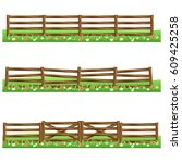 set of farm wooden fences