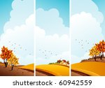 Vector illustration - autumn rural landscape banners - stock vector