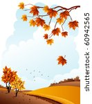 Vector illustration - autumn rural landscape and maple branch - stock vector