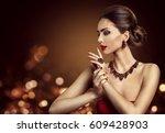 woman hair bun hairstyle ... | Shutterstock . vector #609428903