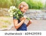 outdoor portrait of a yong... | Shutterstock . vector #609429593