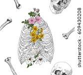 skull  and bones seamless... | Shutterstock .eps vector #609430208