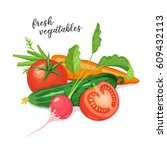 fresh vegetables composition... | Shutterstock .eps vector #609432113