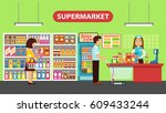 flat people in supermarket.... | Shutterstock .eps vector #609433244