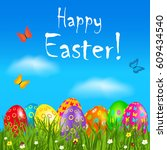 easter greeting card with... | Shutterstock .eps vector #609434540