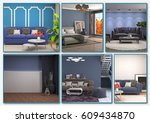 collage of modern home blue... | Shutterstock . vector #609434870