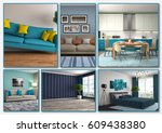 collage of modern home blue... | Shutterstock . vector #609438380