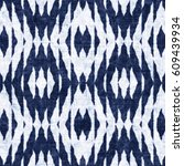 abstract indigo dyed ornament... | Shutterstock . vector #609439934