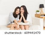 young asian girl chit chat on... | Shutterstock . vector #609441470