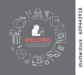welding banner. line icons set. ... | Shutterstock .eps vector #609443918