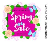 spring sale colorful background ... | Shutterstock .eps vector #609443924