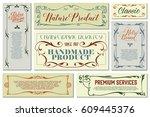 vector flowers vintage labels... | Shutterstock .eps vector #609445376