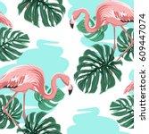 pink flamingo birds  blue water ... | Shutterstock .eps vector #609447074