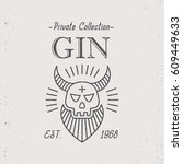 vintage gin label design with... | Shutterstock .eps vector #609449633