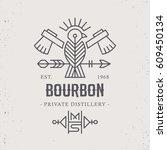 vintage bourbon label design... | Shutterstock .eps vector #609450134