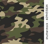 seamless camouflage pattern...   Shutterstock . vector #609455834