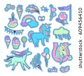 unicorn multicolor stickers... | Shutterstock .eps vector #609456410