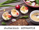 healthy meal with eggs and... | Shutterstock . vector #609464918